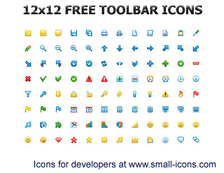 12x12 Free Toolbar Icons screenshot: icon, icons, icon set, development, application, windows, windows icons, free, interface, 12x12, 12 x 12, toolbar, toolbars