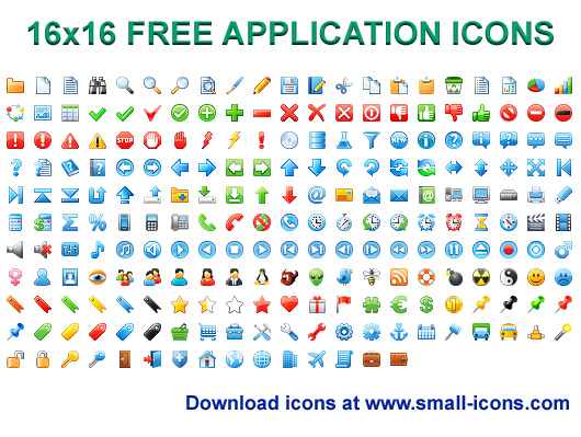 16x16 Free Application Icons 2013.1