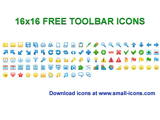 16x16 Free Toolbar Icons Screen shot