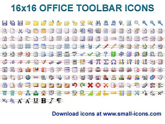 16x16 Office Toolbar Icons - icon, icons, icon set, development, application, windows, windows icons, office, interface, word, toolbar, toolbars - 16 x 16 Office Toolbar Icons pack will instantly refine your toolbar.