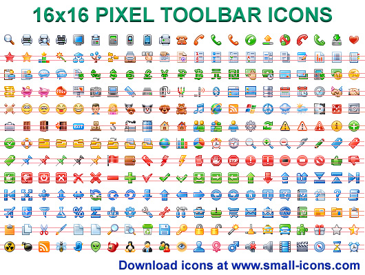 16x16 Pixel Toolbar Icons full screenshot
