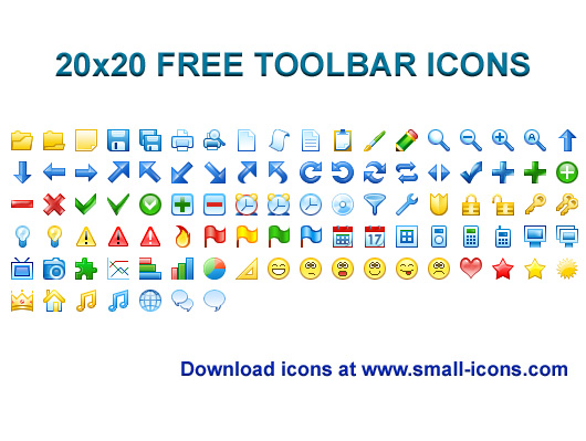 20x20 Free Toolbar Icons screenshot: icon, icons, icon set, development, application, windows, windows icons, free, interface, 20x20, 20 x 20, toolbar, toolbars