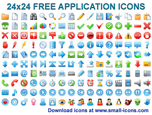 24x24 Free Application Icons Screenshot