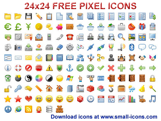 Click to view 24x24 Free Pixel Icons 2011.1 screenshot
