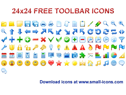 24x24 Free Toolbar Icons - icon, icons, icon set, development, application, windows, windows icons, free, interface, 24x24, 24 x 24, toolbar, toolbars - 24x24 Free Toolbar Icons pack will instantly refine your toolbar