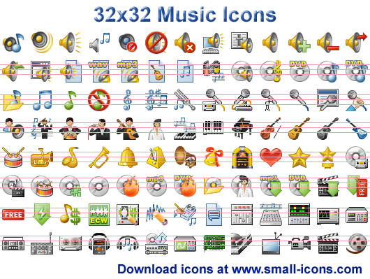 32x32 Music Icons - 32x32 Music Icons pack will instantly refine