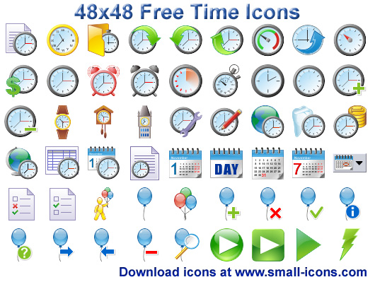 48x48 Free Time Icons 2013.1 Screen shot